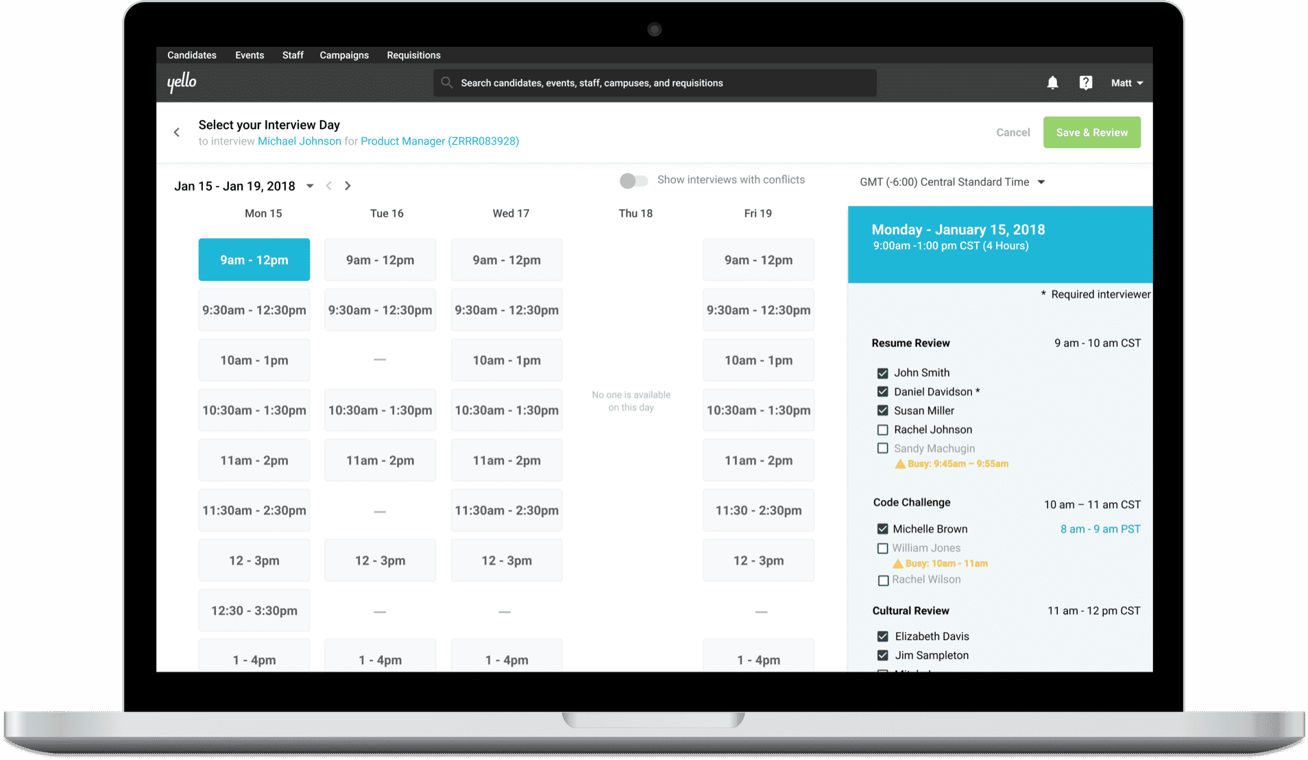 Detailed screen of interview scheduling interface with date and timeslot module selected